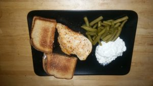 Dinner on new rectangular plate from Ikea.