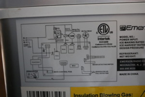Wiring diagram on back of icemaker.