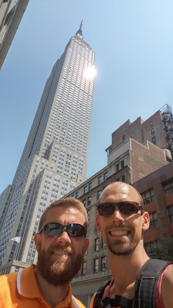 David and Andrew with the Empire State building in the background.